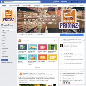 <b>Mercado Primaz</b><br>Criação e gestão de Facebook com produção de conteúdo, fotos, vídeos com animação, cards, promoções